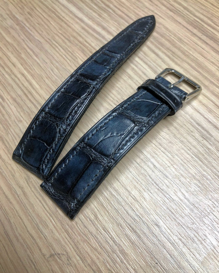 Image of Hand-stitched Patina Blue Alligator watch strap