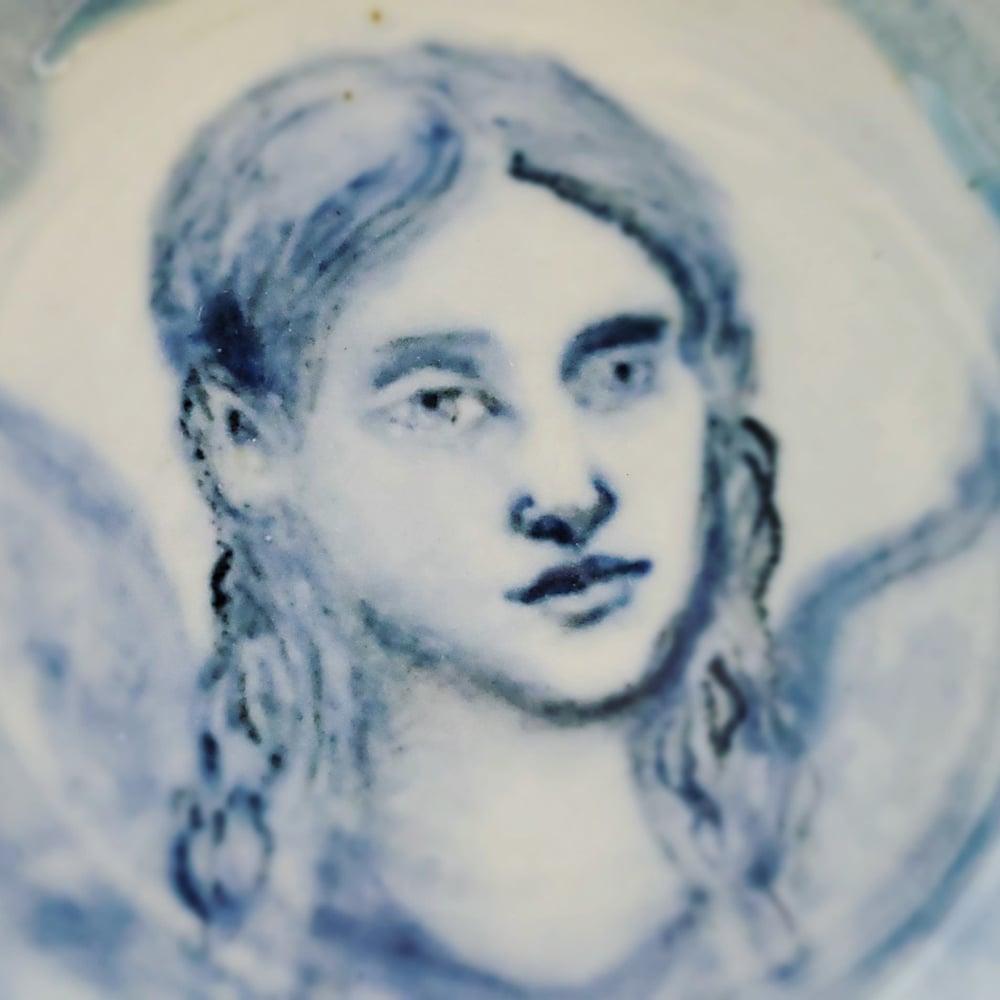 Image of Angel Portrait Drawing Porcelain Bowl