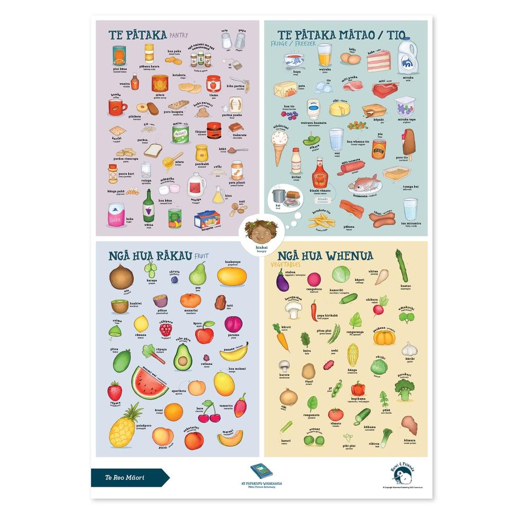 Te Reo Māori - A2 Poster - Food