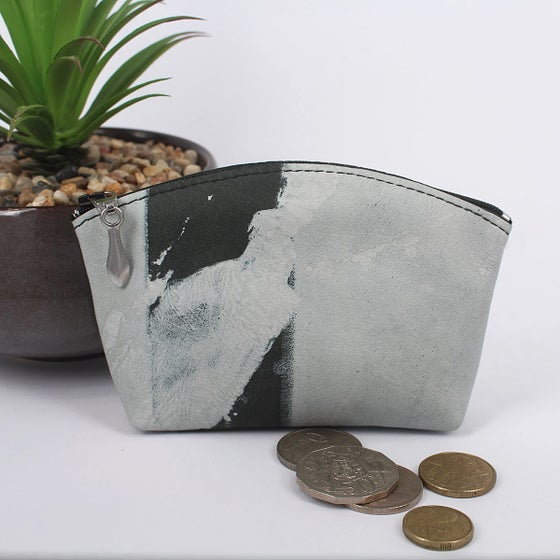 Image of Leather Curved Purse - Painted Grey