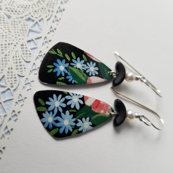 Image of Black Tin Blue Flowers Pottery Shard Earring
