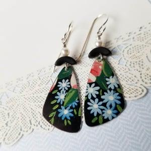 Image of Black Tin Blue Flowers Pottery Shard Earring