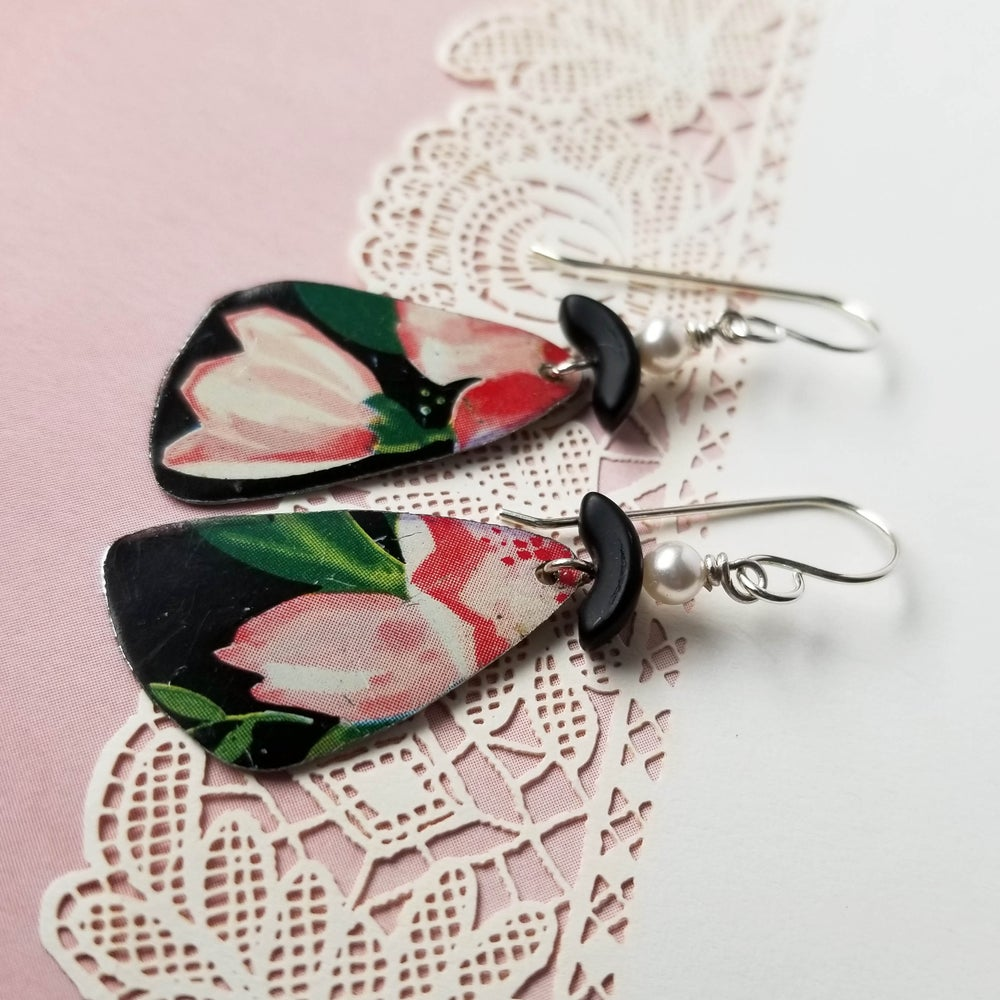 Image of Black Tin Pale Pink Flowers Pottery Shard Earrings