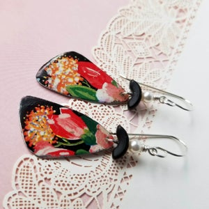 Image of Black Tin Rosey Pink Flower Pottery Shard Earrings