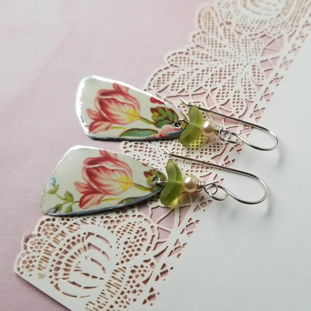 Image of Ruby Tulip Flower Pottery Shard Earrings