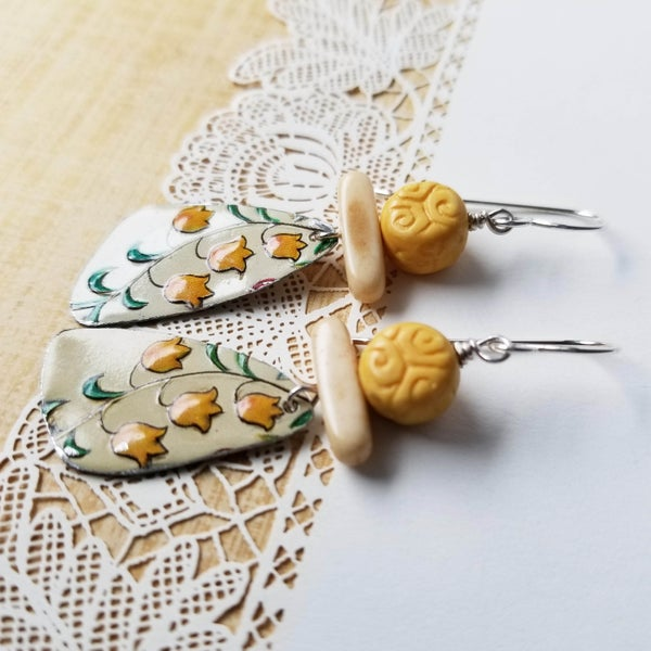 Image of Yellow Bell Flower Pottery Shard Earrings