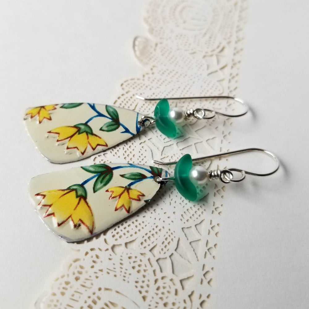 Image of Yellow Daisy Flower Pottery Shard Earrings