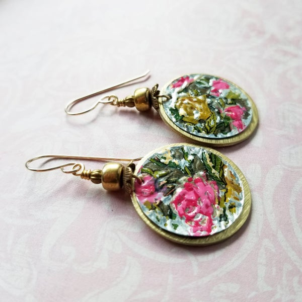 Image of Pink Rose Floral Disc Earrings
