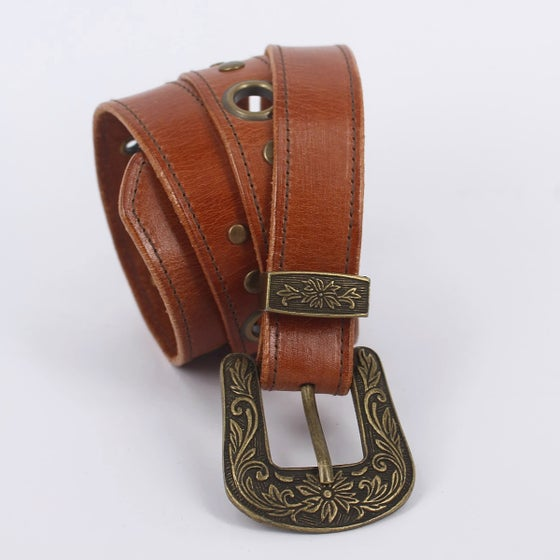Image of Leather Boho Belt - Small Tan