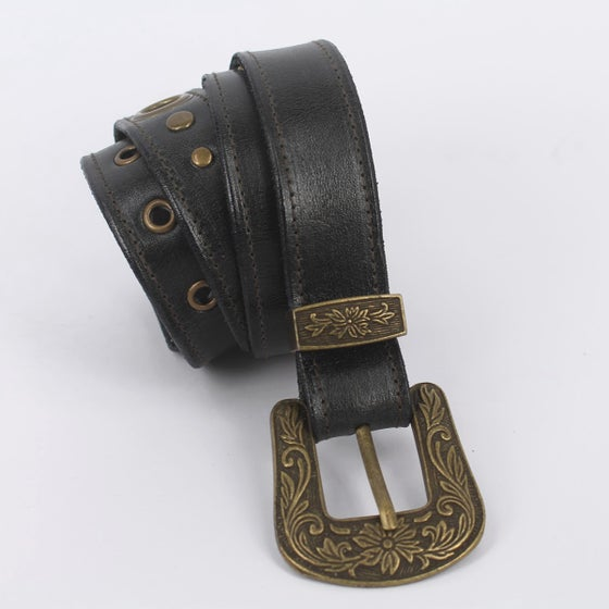 Image of Leather Boho Belt - Medium Black