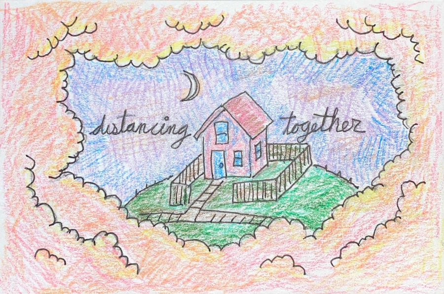Image of distancing together 5 (mail art)