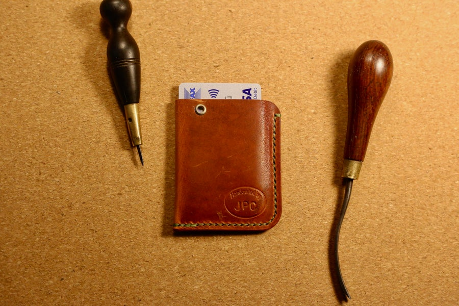 Image of Simple folded card slot in Horween Dublin