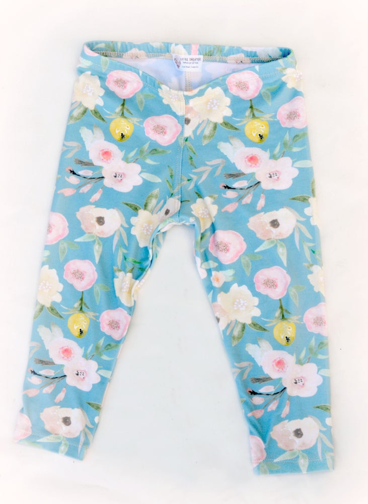 Image of Everyday Leggings- Blue Floral
