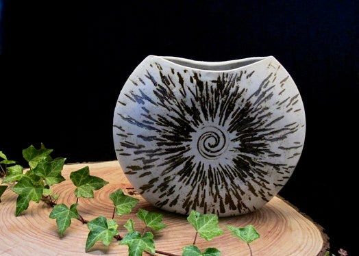 Iron etched eclipse sill vase