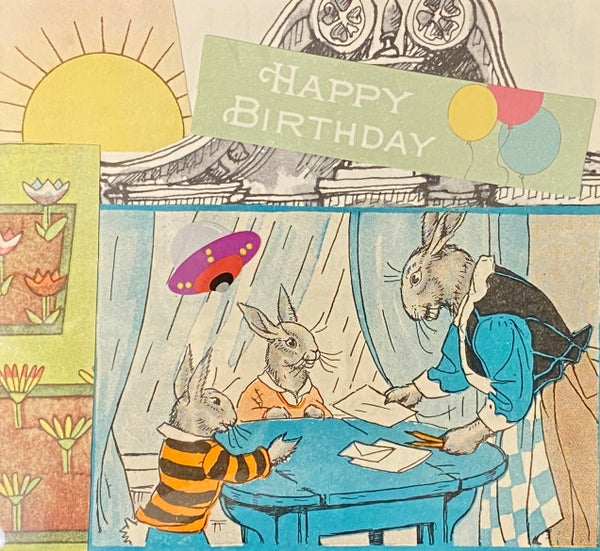 Image of Happy Birthday Rabbits and UFO