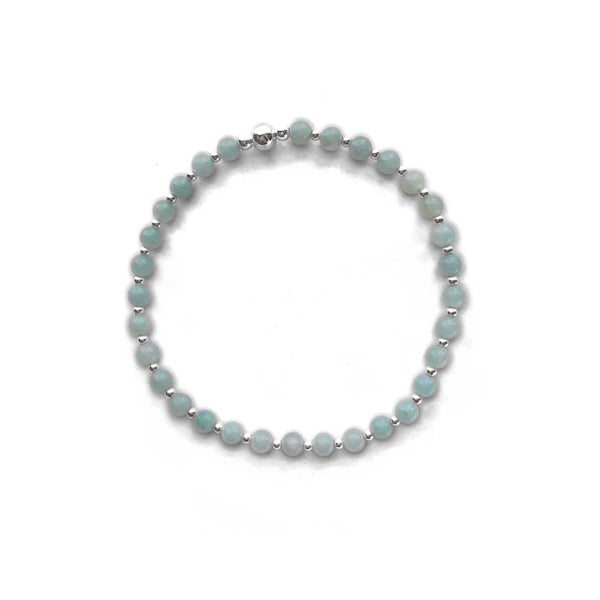 Image of Sterling Silver & Chinese Amazonite Stacking Bracelet