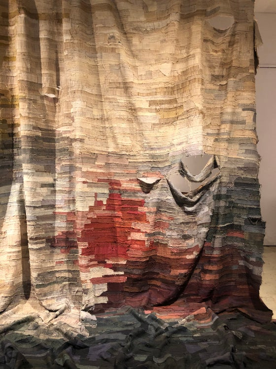 Image of very large khadi silk drape