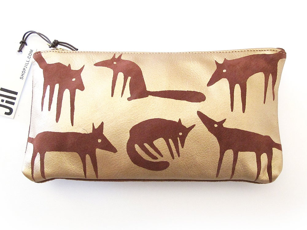 Image of Leather Gold Foxes Purses
