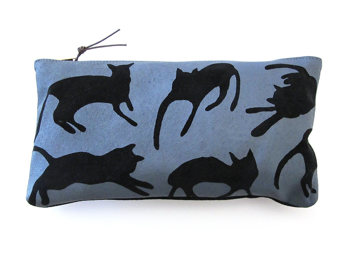 Image of Suede Grey Cats Purses
