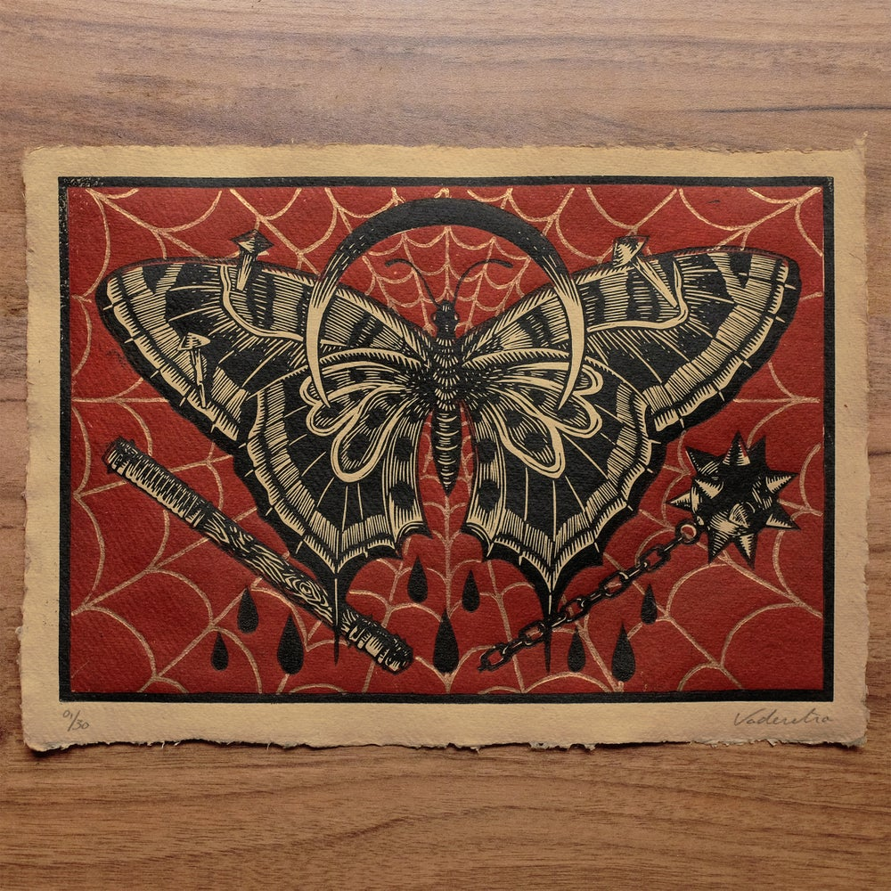 Image of BUTTERFLY<br>(linocut print 3 colors)