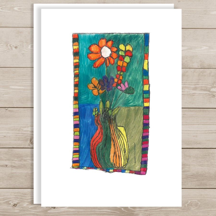 Image of Flowers in a Colorful Frame