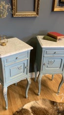 Image 1 of Marble top vintage French bedside tables