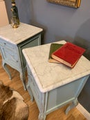 Image 2 of Marble top vintage French bedside tables