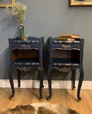 Image 2 of Dark blue & gold French bedside tables.