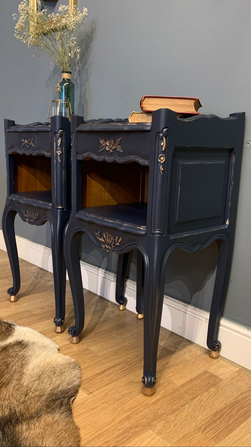 Image of Dark blue & gold French bedside tables.