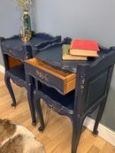Image 3 of Dark blue & gold French bedside tables.