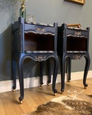 Image 5 of Dark blue & gold French bedside tables.