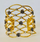 Image of Romantic open work rose cuff