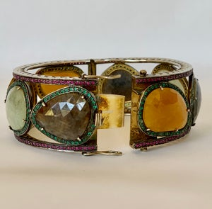 Image of neutral large gem stone bangle