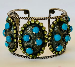 Image of Turquoise & peridot set in oxidized silver