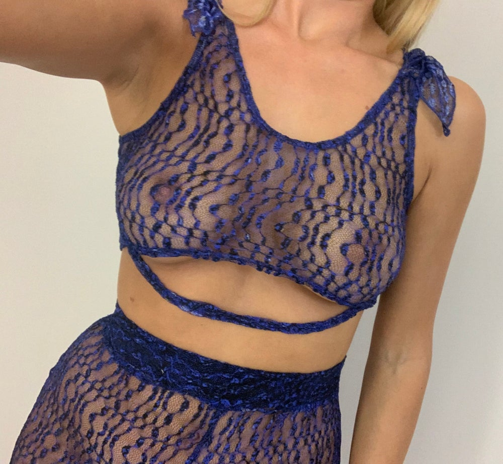 Image of Blue Lace Flares & Tie Top Co-Ord