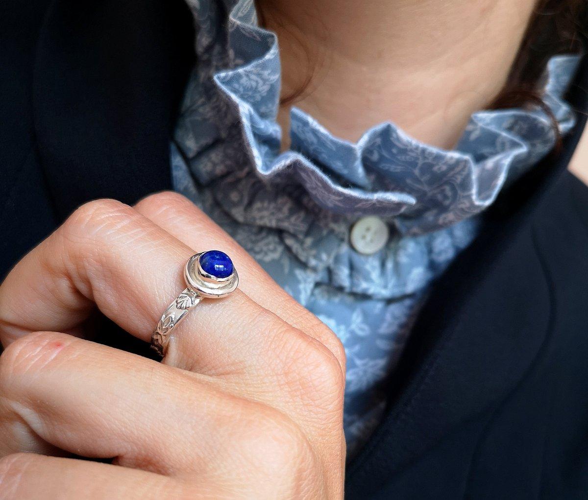 Image of Bague Lapis Lazuli - taille 55,5 - Ref. #5441.