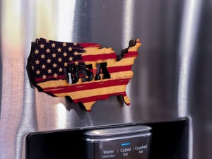 Image of United States American Flag wood magnet