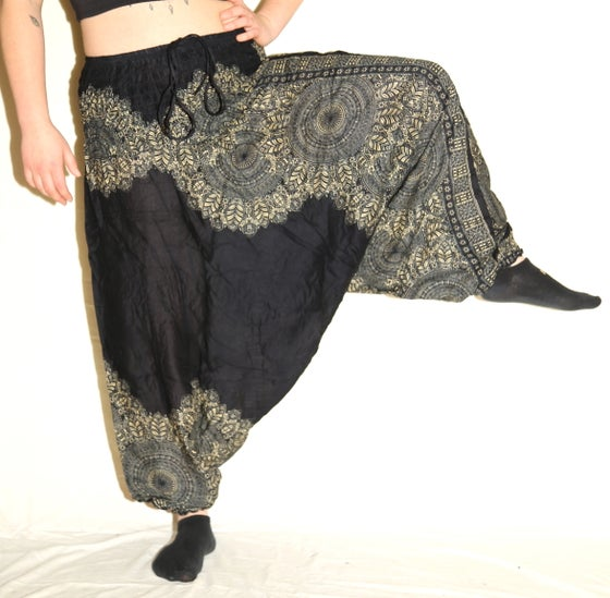 Image of Black Mandala Deep Crotch Harem Pants