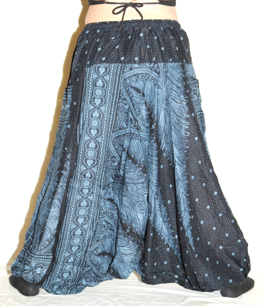 Image of Blue Feather Deep Crotch Harem Pants