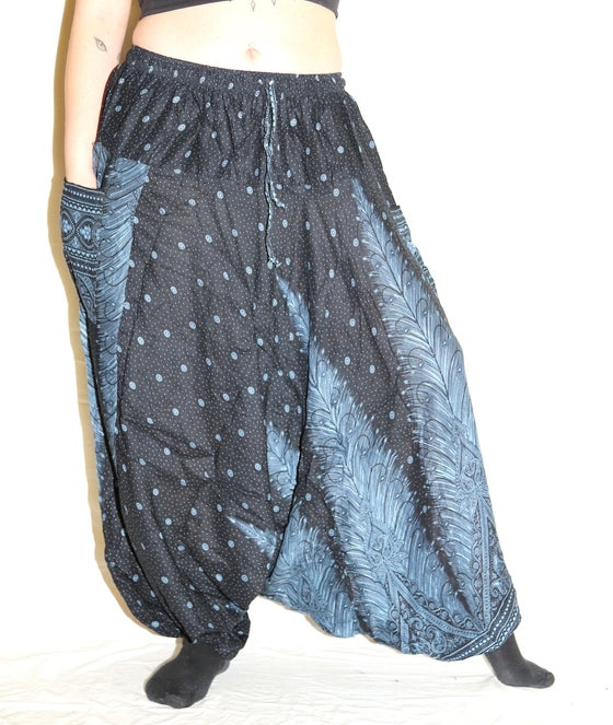Image of Blue Feather Deep Crotch Harem Pants