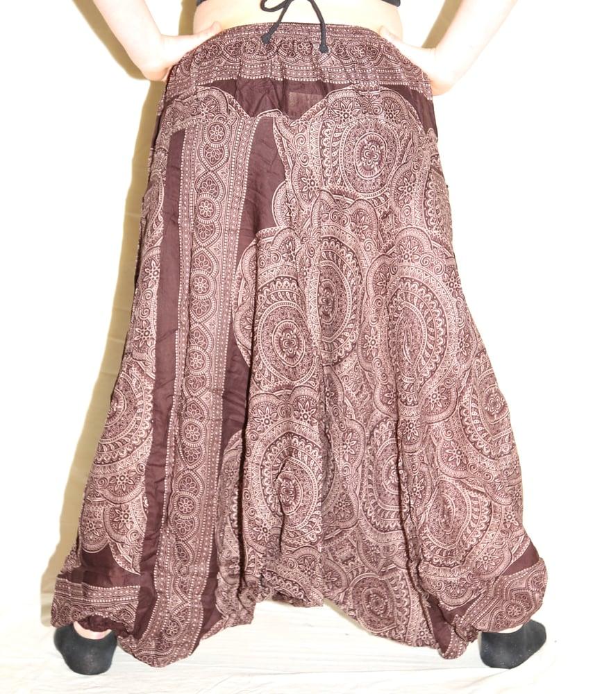 Image of Brown Mandala Deep Crotch Harem Pants