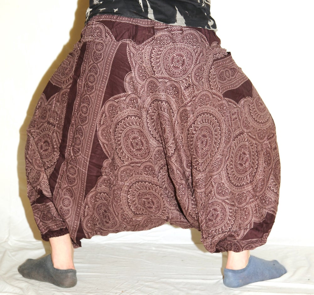 Image of Brown Mandala Deep Crotch Harem Pants