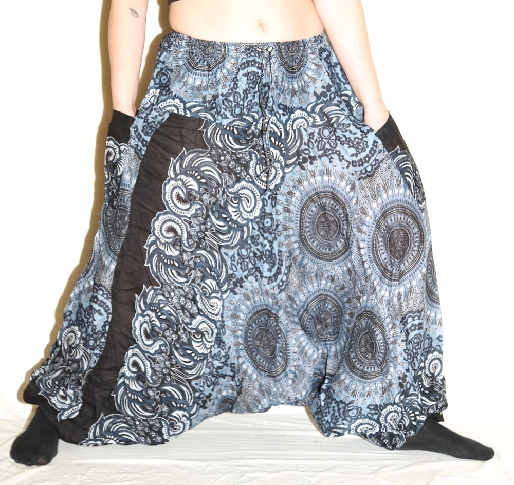 Image of Dark Blue Mandala Deep Crotch Harem Pants