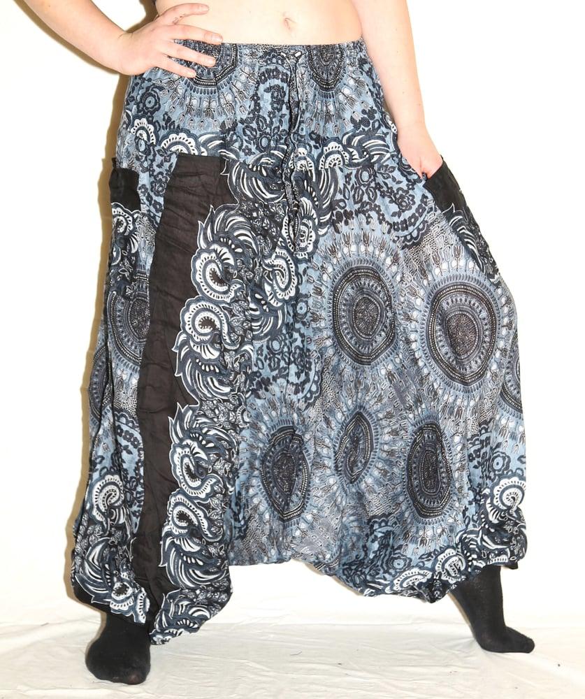 Image of Dark Blue Mandala Deep Crotch Harem Pants