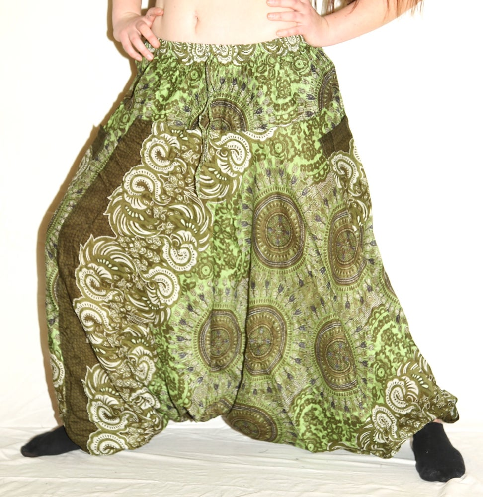 Image of Lime Green Mandala Deep Crotch Harem Pants