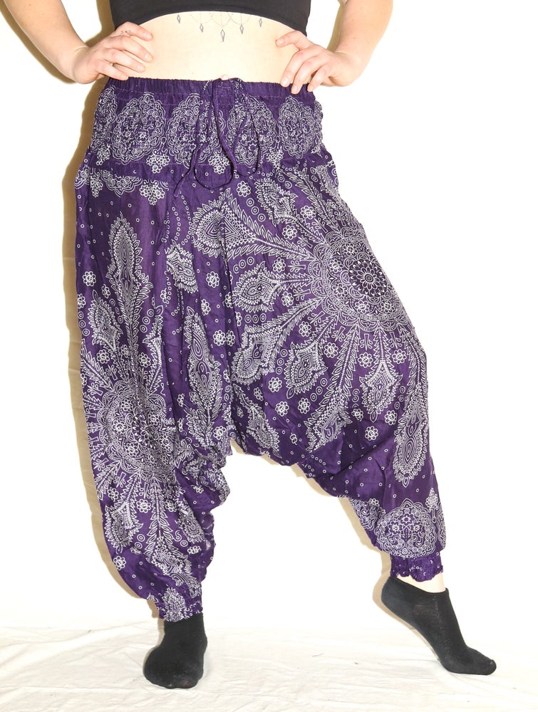 Image of Purple Mandala Deep Crotch Harem Pants