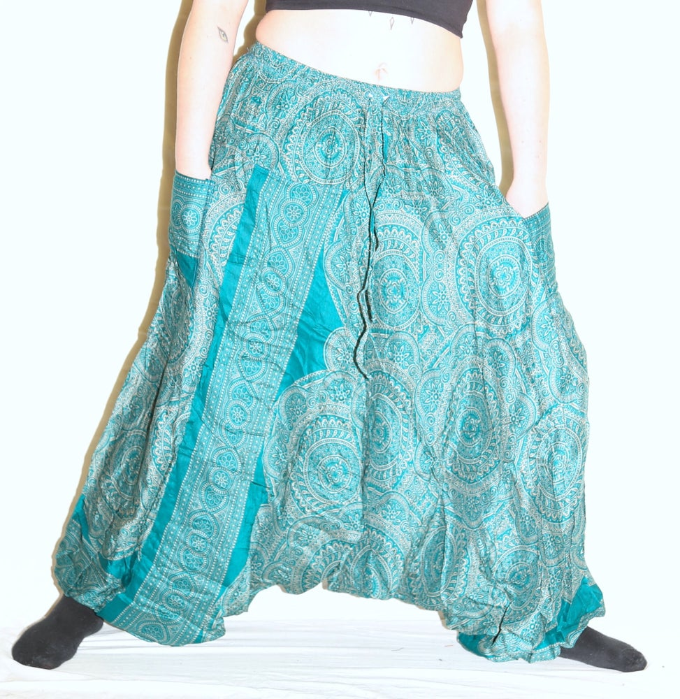 Image of Turquoise Mandala Deep Crotch Harem Pants