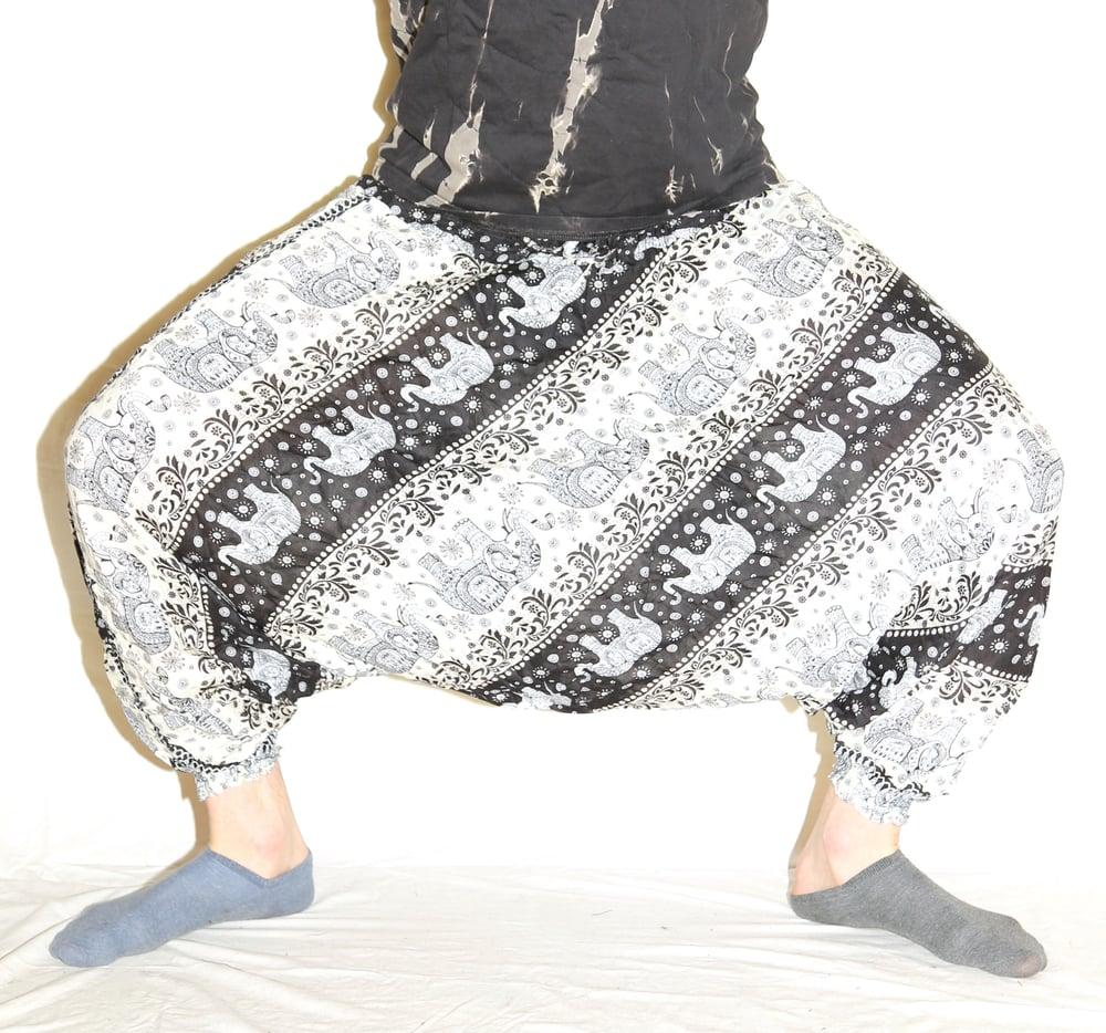 Image of Black Elephant Deep Crotch Harem Pants