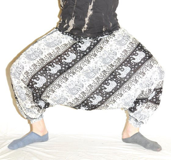 Image of Black Elephant Deep Crotch Harem Pants