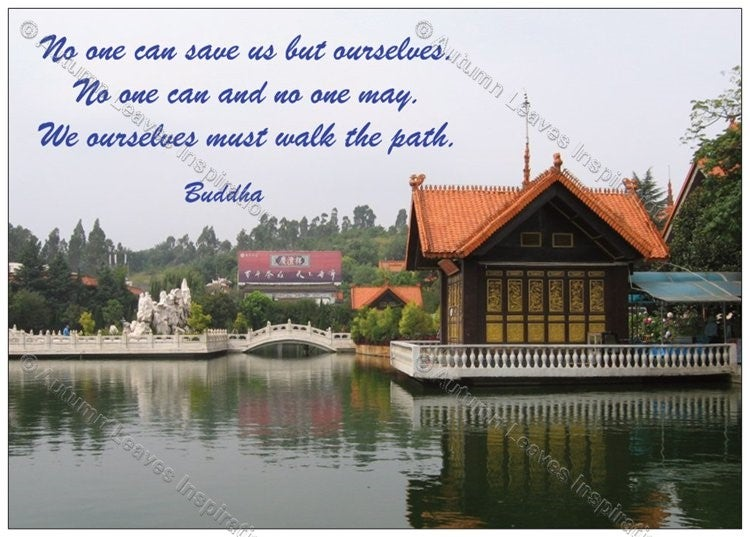 """Image of Q1 Buddha """"We... must walk the path"""" quote"""